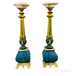 Pair of Polychrome Painted and Carved Candlestick Pedestals