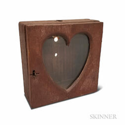 Red-painted and Glazed Pine Heart-form Watch Hutch