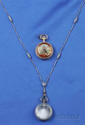 Two Antique Enamel Pendant Watches