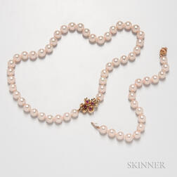 Cultured Pearl Necklace and Bracelet