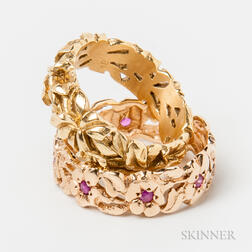 Two Gold Floral Bands
