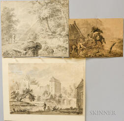 Continental School, 18th/19th Century Three Landscape Drawings with Figures: Rearing Horse and Rider, Mother and Child by a River Bank