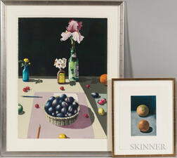 Paul Wonner (American, 1920-2008)      Two Color Lithographs: Still Life with Fruit and Flowers