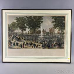 Framed Tappan & Bradford View of the Water Celebration   Hand-colored Lithograph