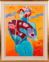 Peter Max (American, b. 1937)      Blue Fan Dancer