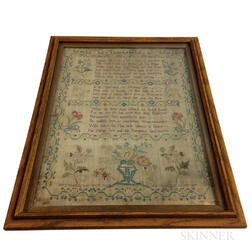 "Framed Needlework Sampler ""Mary Manning,"""