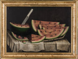 After Daniel McDowell (Mt. Vernon, Ohio, 1809-1885)      Watermelon Wedges on a White Cloth
