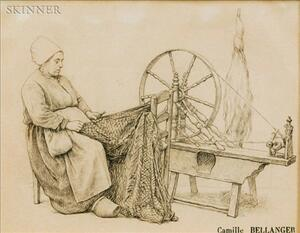 Camille Félix Bellanger (French, 1853-1923)    Woman at Spinning Wheel