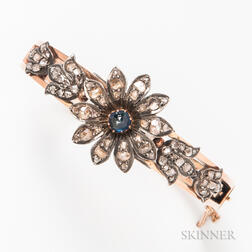 14kt Gold and Diamond Floral Hinged Bangle