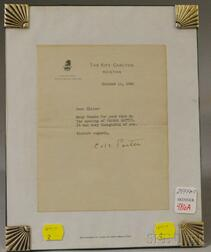 Cole Porter Signed Typewritten Note