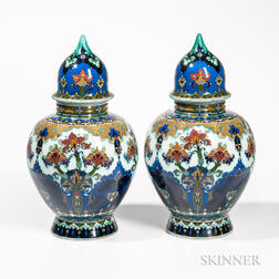 Large Pair of Rozenburg Pottery Vases and Covers