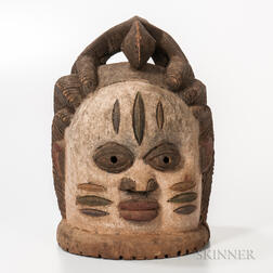 Mende-style Carved and Painted Wood Helmet Mask