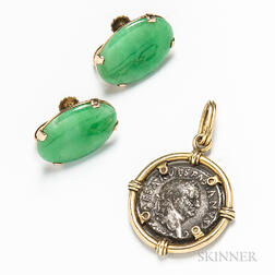 14kt Gold-mounted Ancient Coin Pendant and a Pair of Jadeite Earclips