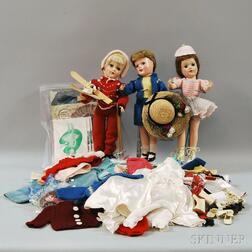 Three Hard Plastic Mary Hoyer Dolls with Large Group of Outfits