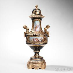 Sevres-style Porcelain and Bronze-mounted Urn and Cover
