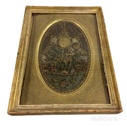 Framed Early Quillwork Floral Picture