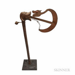 Carved Walnut and Wrought Copper Folk Art Sculpture