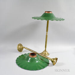 Pair of Brass Hanging Lights with Green Enameled Shades