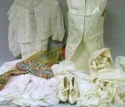 Victorian Embroidered Cotton and White Lace Day Dress, a Pair of Silk Satin and Kid Leather Ladys Heels, Two Silk Satin Mens Waistcoa