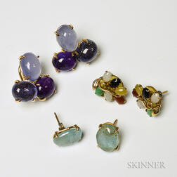 Three Pairs of Hardstone and Gemstone Earrings
