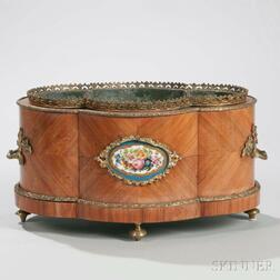 French Porcelain-mounted Parquetry Jardiniere