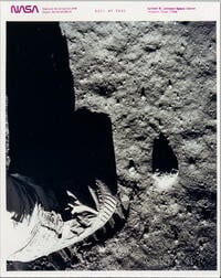 Apollo 11, Buzz Aldrin, Lunar Overshoe, July 11, 1969.