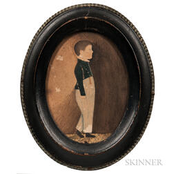 American School, Mid-19th Century      Pair of Portraits of a Boy in a Blue Jacket and a Boy in a Gray Suit