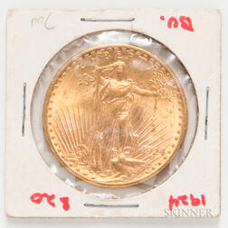 1924 $20 St. Gaudens Double Eagle Gold Coin.