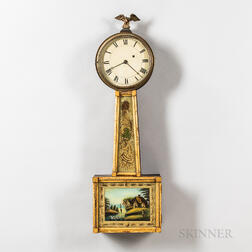 """Gilt-front and Mahogany Patent Timepiece or """"Banjo"""" Clock"""