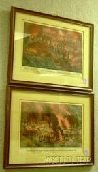 Two Framed Currier & Ives Small Folio Hand-colored Civil War Lithographs