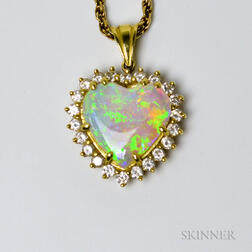 18kt Gold, Opal, and Diamond Heart Pendant