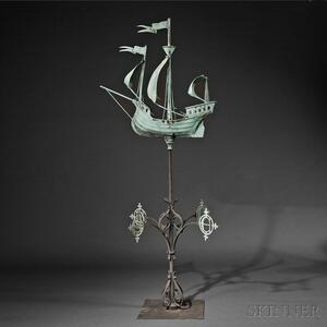 Molded and Sheet Copper and Wrought Iron Galleon Weathervane and Directionals