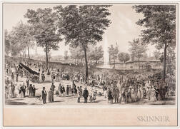 "Two ""View of the Water Celebration, on Boston Common October 25th 1848"" Lithographs"