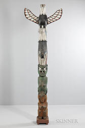 Large Polychrome Carved Wood Totem Pole