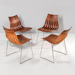 Four Arthur Umanoff for Hove Mobler Rosewood Stacking Chairs
