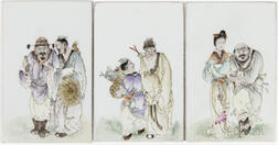 Three Enameled Porcelain Plaques