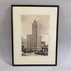 Framed Wurts Bros. Photograph of the Military Park Building in Newark, New Jersey