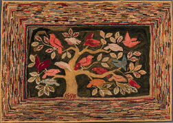 Hooked Rug with Birds in a Tree