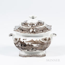Staffordshire Transfer-decorated William Henry Harrison Covered Sugar Bowl