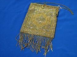 French Metal Beaded Purse with Gilt Cast Metal Frame.