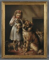 Susan C. Waters (American, 1823-1900)      Portrait of a Girl with Dogs: Admiring the Litter.