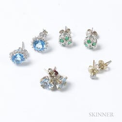 Four Pairs of Diamond and Gem-set Earrings