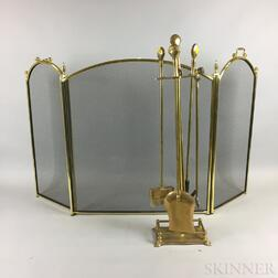 Brass and Mesh Firescreen and a Set of Shell-handled Fire Tools and Stand.     Estimate $200-250