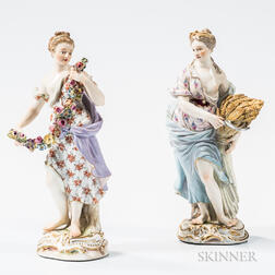 Two Meissen Porcelain Allegorical Figures of the Seasons