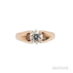 Antique 14kt Gold and Diamond Solitaire