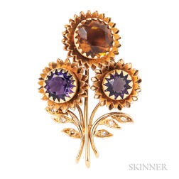 18kt Gold Gem-set Flower Brooch, Marchak