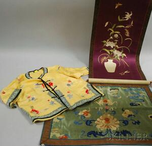 Chinese Embroidered Silk Panel and Childs Jacket, and a Japanese Embroidered Silk Scroll.
