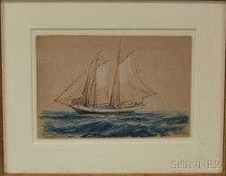 Attributed to Reynolds Beal (American, 1866-1951)      Sailboat.