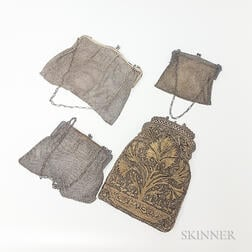 Three Victorian Silver Mesh Pocketbooks and an Embroidered Pocketbook