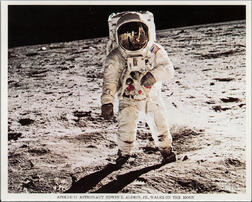 Apollo 11, Buzz Aldrin on the Surface of the Moon, the Visor Image, July 11, 1969.
